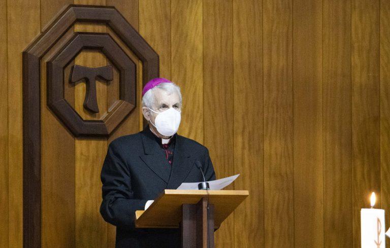 Luis Quinteiro, obispo católico de Tui-Vigo en el acto ecuménico del pasado jueves.