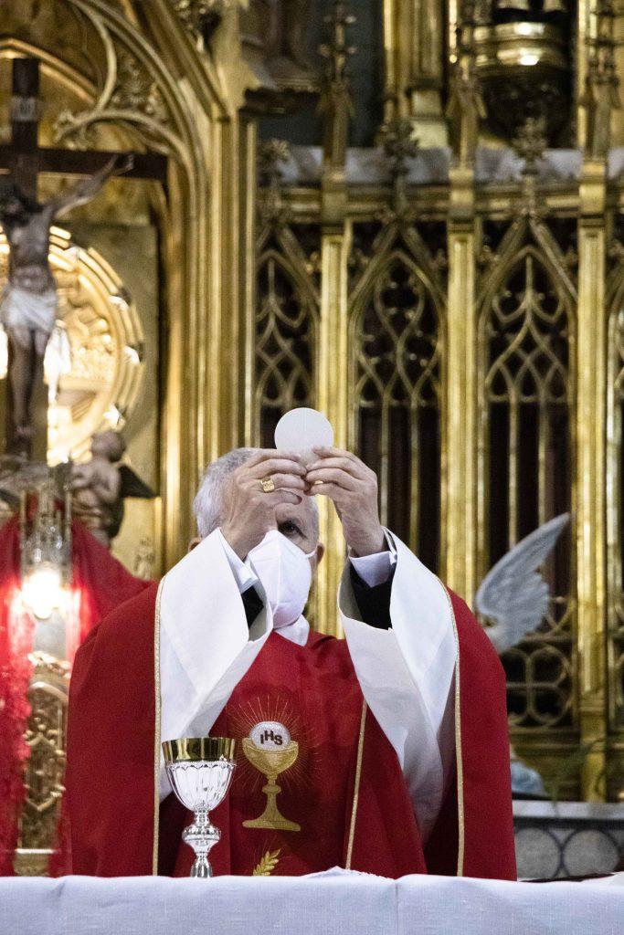 El obispo de Tui-Vigo preside la misa del Domingo de Ramos en María Auxiliadora.